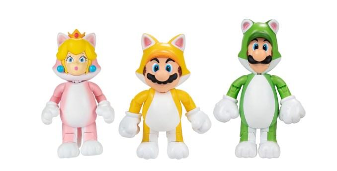 Das Bild zeigt Katzen-Peach, -Mario und -Luigi von Jakks Pacific.