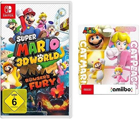 """Das Bild zeigt das Bundle """"Super Mario 3D World + Bowser's Fury"""" mit dem amiibo Doppelpack, welches bei Amazon zum Top-Preis angeboten wird."""
