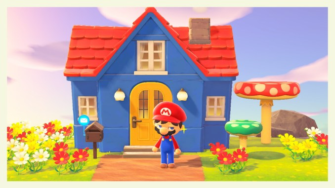 """Das Bild zeigt die Super Mario-Items in unserem Beitrag zum Gewinnspiel zum 1. Jubiläum von """"Animal Crossing: New Horizons""""."""