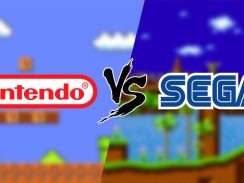 Das Bild zeigt uns die Banner der Unternehmen Nintendo und Sega. Im Hintergrund sieht man zwei Gameplays von zwei weltbekannten Spielen.