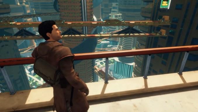 """Das Bild zeigt den Protagonisten von """"Beyond A Steel Sky"""" in Union City."""