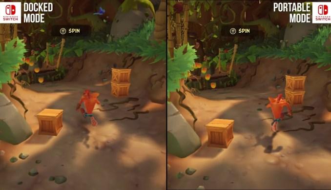 """Das Bild zeigt den Vergleich der Technik im Dock- und Handheld-Modus von """"Crash Bandicoot 4: It's About Time""""."""