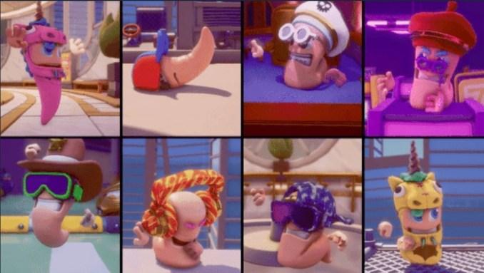 """Das Bild zeigt verschiedene Outfits für die Würmer in """"Worms Rumble""""."""