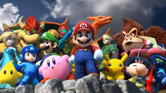 """Das Bild zeigt eine Szene aus dem Spiel """"Super Smash Bros. Ultimate"""". In der Mitte des Bildes ist Kirby zu erkennen."""