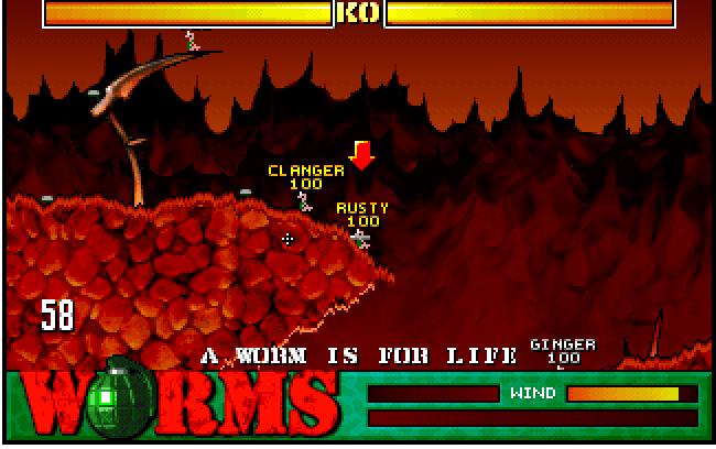 """Das Bild zeigt einen Spielausschnitt aus """"Worms""""."""