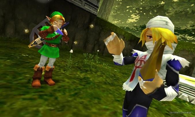 """Das Bild zeigt Link und Sheik in """"The Legend of Zelda: Ocarina of Time 3D""""."""