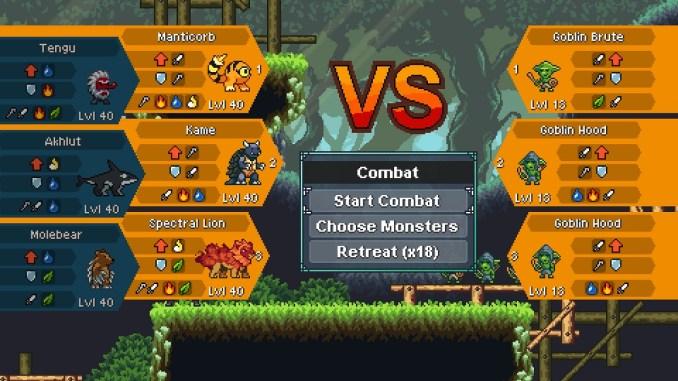 """Das Bild zeigt die Monster vor dem Kampf aus dem Spiel """"Monster Sanctuary"""""""