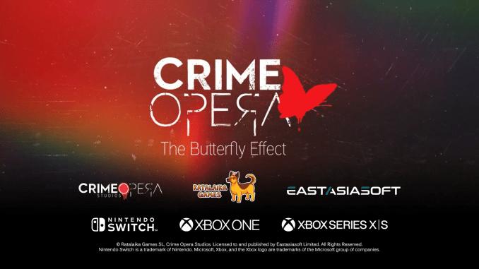 """Das Bild zeigt das Logo von """"Crime Opera: The Butterfly Effect""""."""