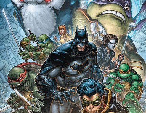 Das Bild zeigt ein Turtles Comic Cover. In diesem Fall eine Zusammenarbeit zwischen IDW und DC Comics. So kommt es hier zur Zusammenkunft von Batman und den Turtles.