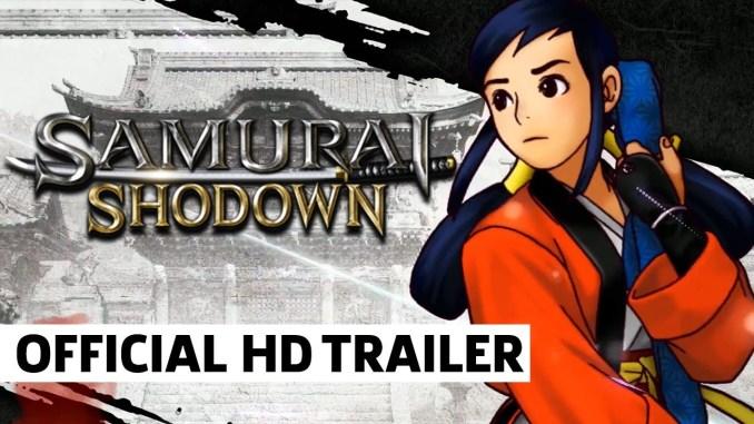 Das Bld zeigt eine Ankündigung des Spiels Samurai Shodown. Man sieht ebenfalls einen Charakter aus dem Spiel.