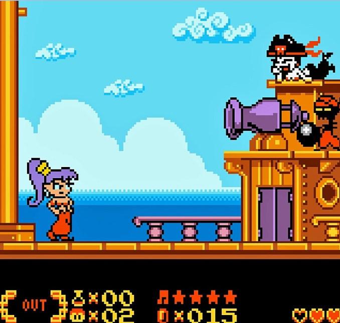 Das Bild zeigt das Gamplay aus dem Spiel Shantae. Im Bild Kämpft Shantae gegen Risky Boots