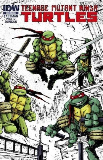 Das Bild zeigt ein Turtles Comic Cover. In diesem Fall die Neuauflage der Serie von IDW Comics, in der die Story abgewandelt wurde.