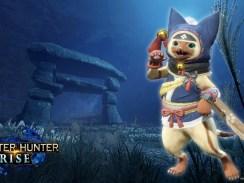 """Das Bild zeigt das Logo und einen Charakter aus dem Spiel """"Monster Hunter Rise""""."""