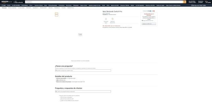 Das Bild zeigt die Listung der Switch Pro auf der mexikanischen Amazon-Webseite.