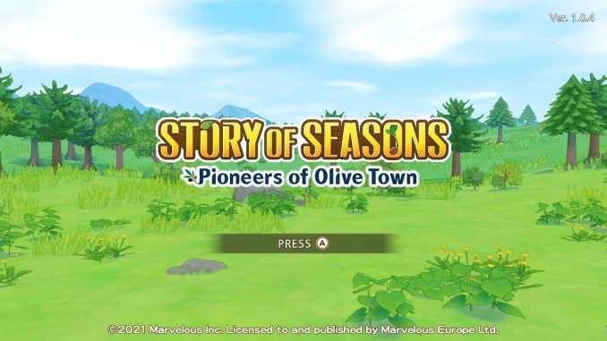 """Das Bild zeigt den Startbildschirm von """"STORY OF SEASONS: Pioneers of Olive Town""""."""