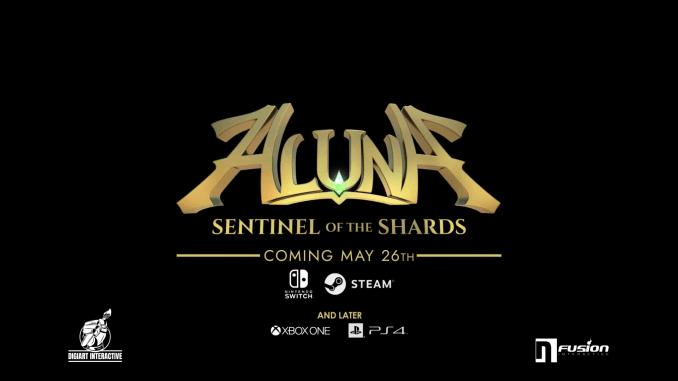 """Das Bild zeigt das Logo von """"Aluna: Sentinel of the Shards""""."""