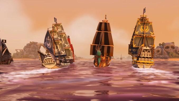 """Das Bild zeigt eine Szene mit mehreren Schiffen in """"King of Seas""""."""