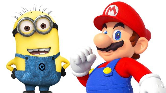 Das Bild zeigt uns ein Minion aus der Film-Reihe Ich einfach Unverbesserlich und  das Maskottchen von Nintendo, Mario