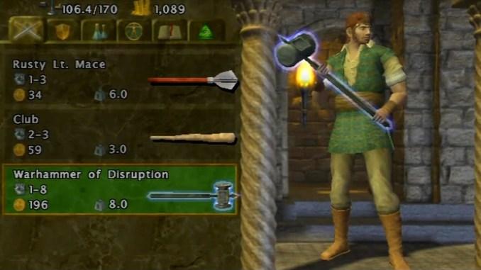 Das Bild zeigt das Gameplay aus dem Spiel Baldur's Gate: Dark Alliance. Man sieht einen männlichen Spielcharakter.