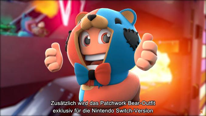 """Das Bild zeigt das Patchwork-Bear-Outfit aus """"Worms Rumble"""" aus der Nintendo Direct zur E3 2021."""