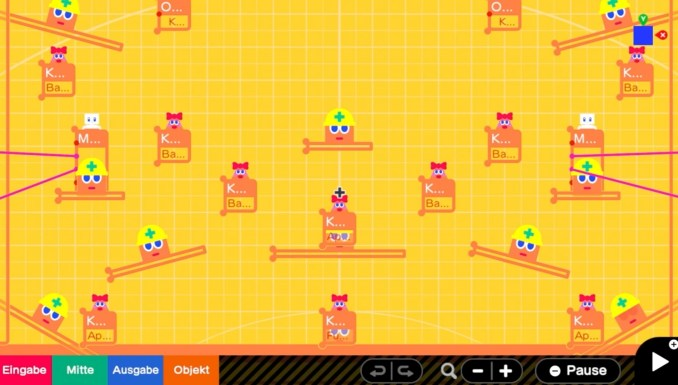 """Das Bild zeigt einige Knotixe in """"Game Builder Garage""""."""