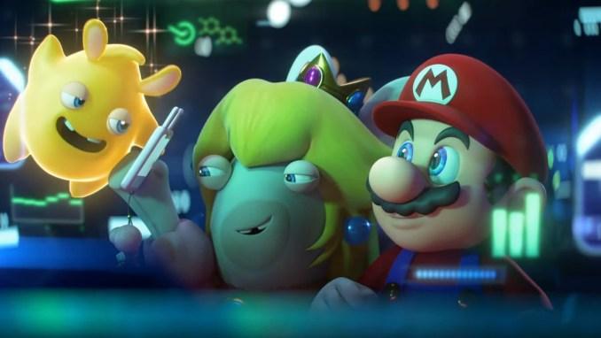 """Das Bild zeigt Mario, Rabbid Peach und einen Spark in """"Mario + Rabbids Sparks of Hope""""."""