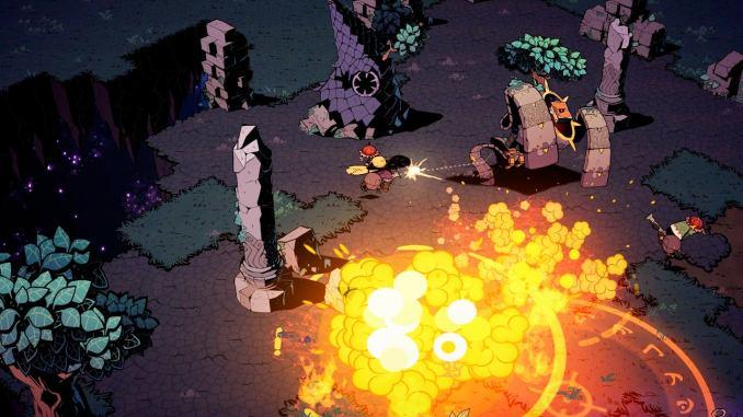 """Das Bild zeigt neben einer Explosion auch den Kampf mit der Umwelt aus dem Spiel """"Wizard with a Gun""""."""