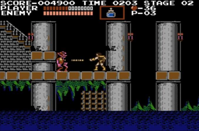 Das Bild zeigt einen Screenshot von Castlevania aus 1986.