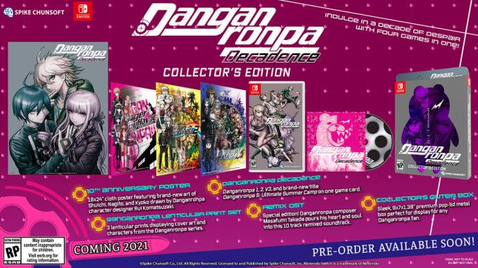 """Das Bild zeigt den Inhalt der Collector's Edition von """"Danganronpa Decadence""""."""