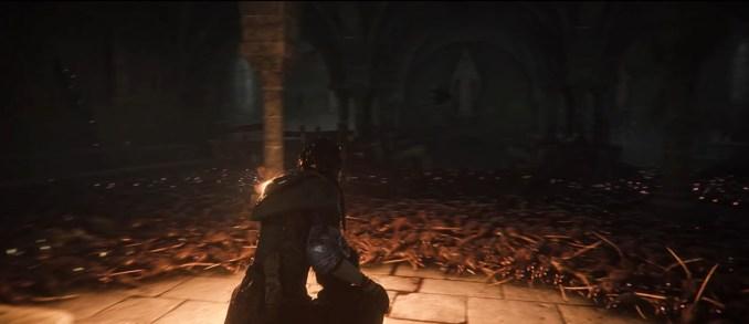 """Das Bild zeigt die Protagonisten inmitten eines Rattenschwarmes in """"A Plague Tale: Innocence""""."""