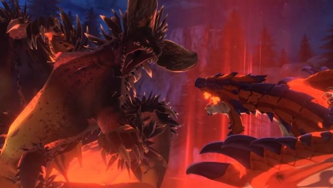 """Das Bild zeigt einen großen Monsterkampf in """"Monster Hunter Stories 2""""."""