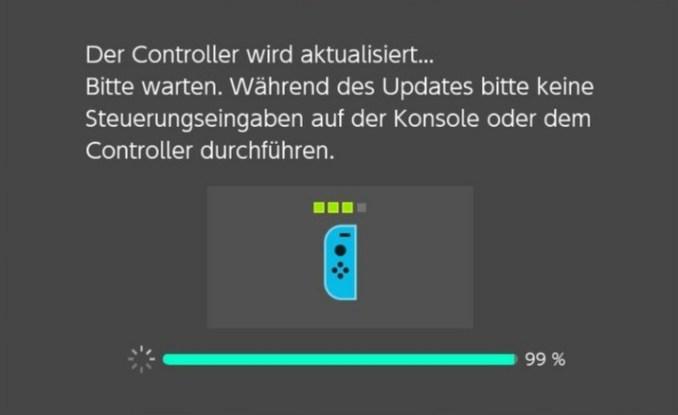Das Bild zeigt den Bildschirm des Joy-Con-Updates (Switch-Update)