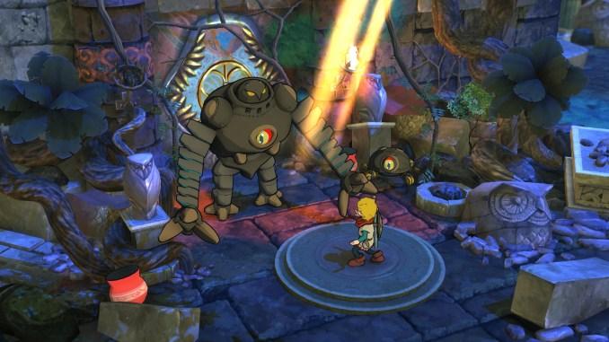 Das Bild zeigt das Gameplay aus dem Spiel Baldo: The Guardian Owls. Man sieht Baldo, der gegen eine Maschine kämpft.