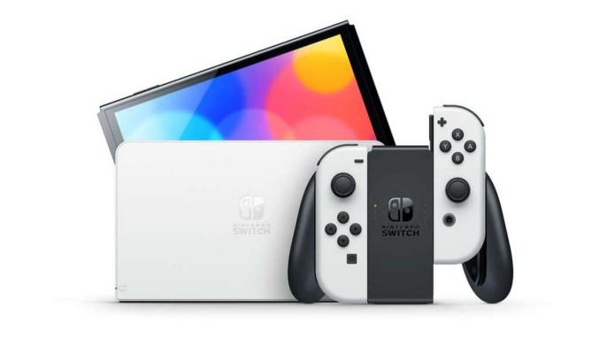 Das Bild zeigt das weiße Nintendo Switch OLED-Modell.