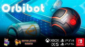 """Das Bild zeigt eine Szene aus dem Spiel """"Orbibot""""."""