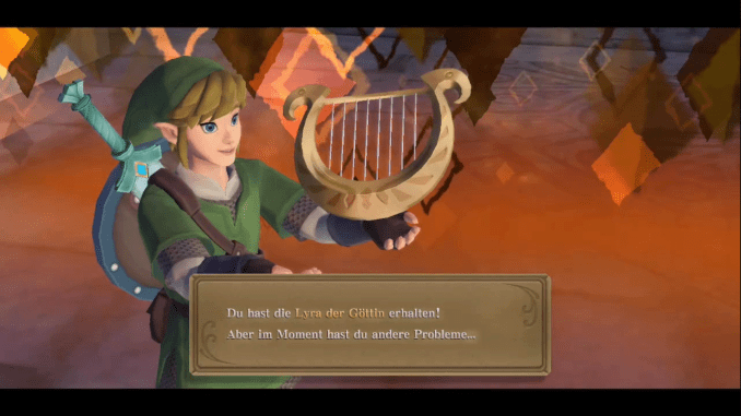 Das Bild zeigt Link, der gerade die Lyra erhalten hat – Skyward Sword HD