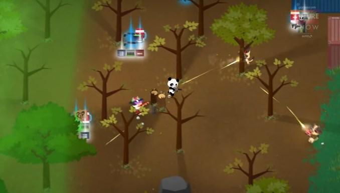 """Das Bild zeigt ein Gefecht in """"Super Animal Royale""""."""