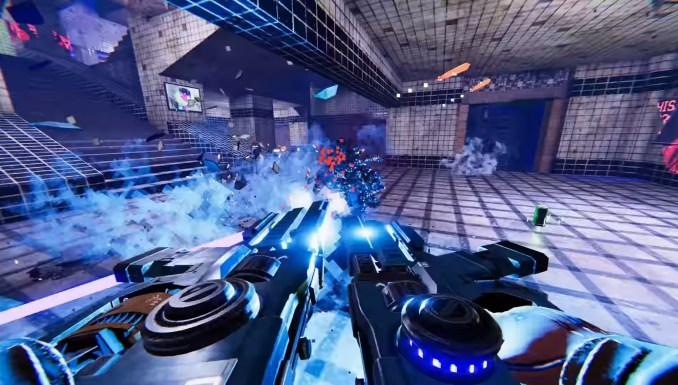 """Das Bild zeigt eine Schussszene in """"Turbo Overkill""""."""