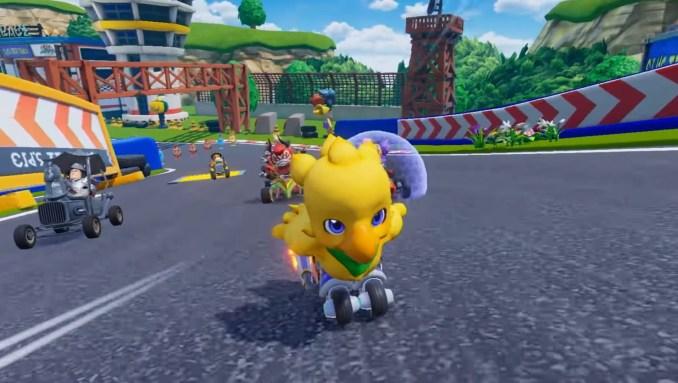 """Das Bild zeigt einen beschleunigenden Chocobo im Kart-Racer """"Chocobo GP""""."""