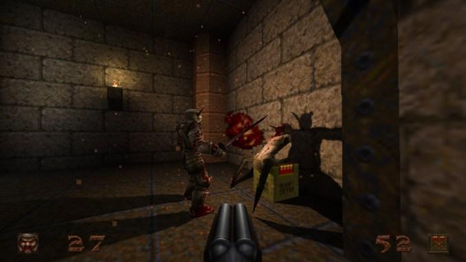 """Auf diesem Screenshot des Spiels """"Quake"""" sind zwei sich bekämpfende Monster zu sehen."""