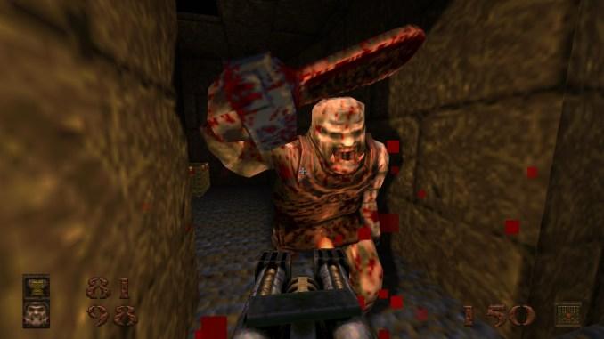 """Auf diesem Screenshot des Spiels """"Quake"""" ist ein Monster mit einer Kettensäge zu sehen."""