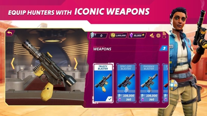"""Das Bild zeigt verschiedene Blaster in """"Star Wars Hunters""""."""