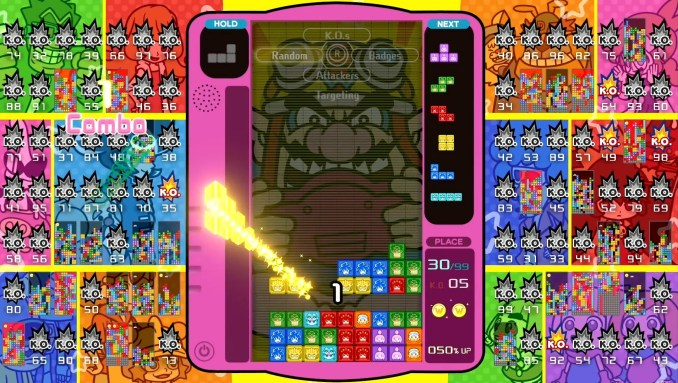 """Das Bild zeigt das """"WarioWare: Get It Together!""""-Design in """"Tetris 99""""."""