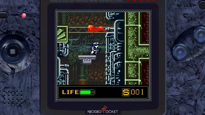 """Das Bild zeigt einen Platforming-Abschnitt in """"Metal Slug 1st & 2nd Mission""""."""
