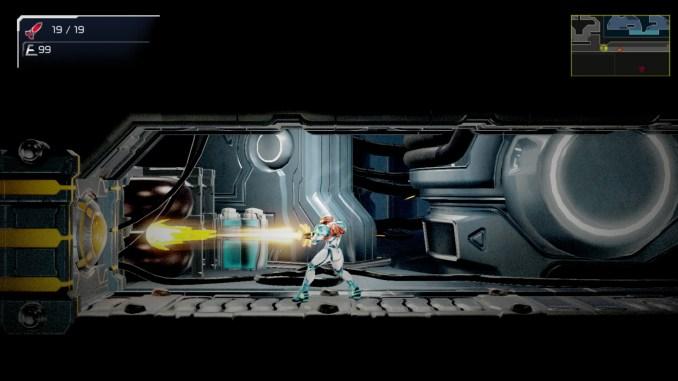 """Das Bild zeigt eine Beam-Atracke von Samus Aran in """"Metroid Dread""""."""