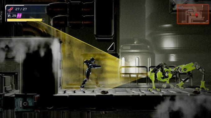 """Das Bild zeigt die Verwendung des Phantomumhangs in """"Metroid Dread""""."""