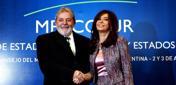 Presidente do Brasil, Luiz Inácio Lula  da Silva, e a presidente da Argentina, Cristina Kirchner