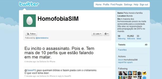 Imagem do perfil @HomofobiaSim, que em apenas um dia angariou mais de 15 mil seguidores no Twitter