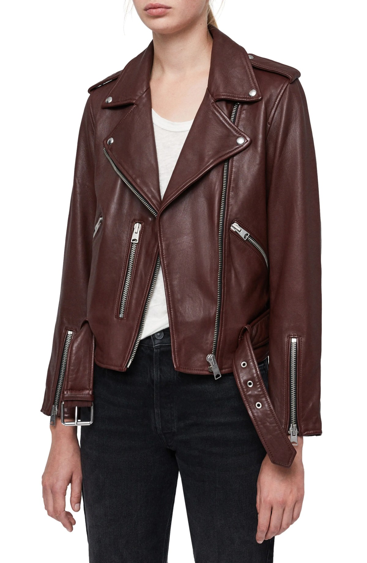 ALLSAINTS Balfern Leather Biker Jacket, Main, color, DEEP BERRY