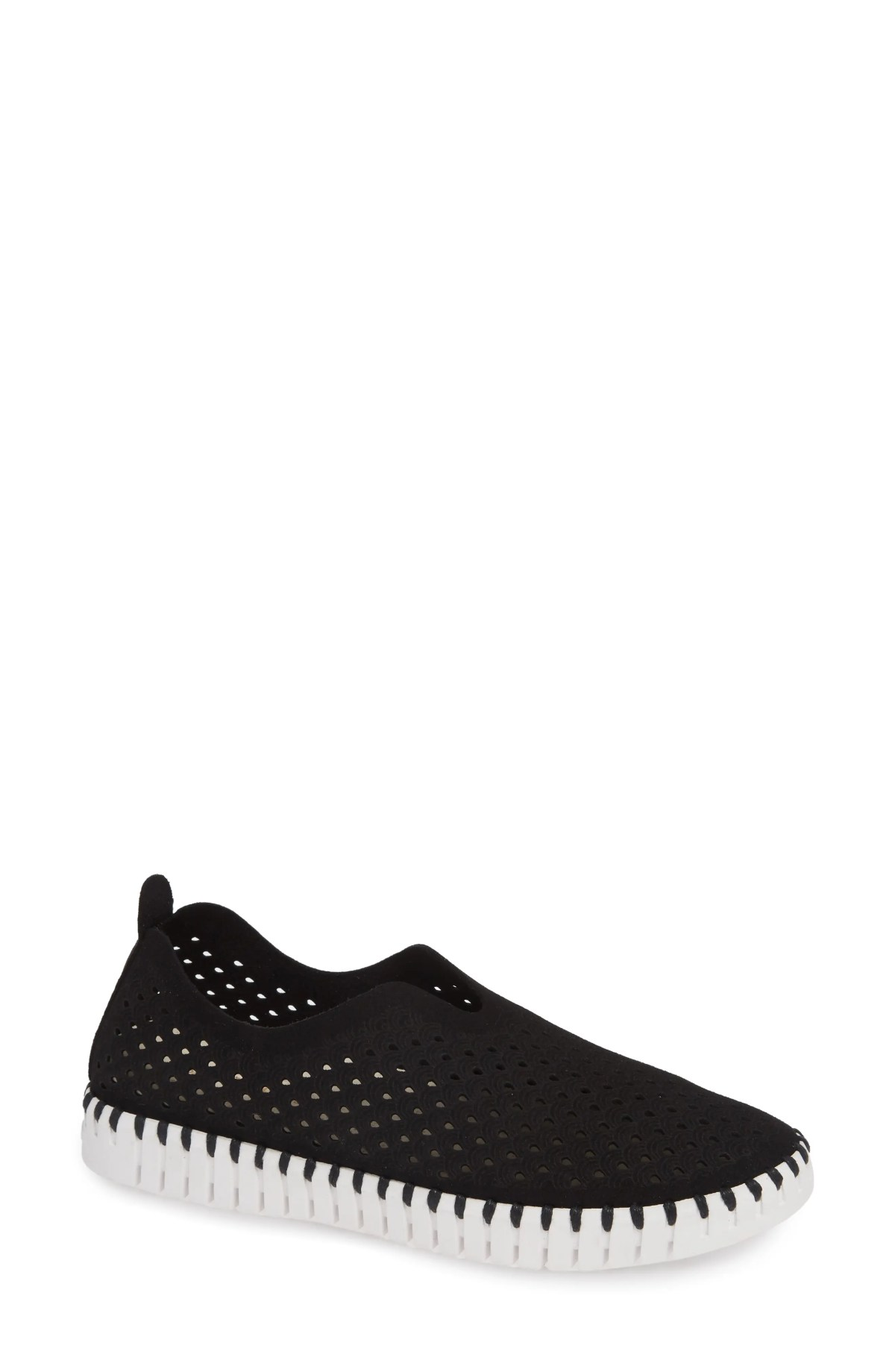 ILSE JACOBSEN Tulip 139 Perforated Slip-On Sneaker, Main, color, BLACK FABRIC